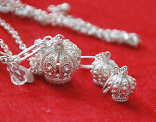 """Crown Necklace & Earrings / White~Silver-tone Base w Clear Crystals / 18"""" Chain"""