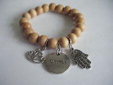 Spiritual Inspirational Healing Stacking Bracelet Karma Lotus ECO Wood Bead Yoga