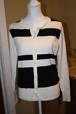 WOMEN'S GH BASS RUGBY STRIPE CASHMERE BLEND CARDIGAN SIZE SMALL NEW MSRP $100
