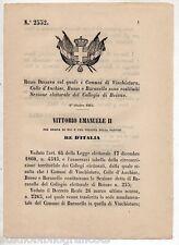 REGIO DECRETO del 1865 VINCHIATURO COLLE D'ANCHISE BUSSO BARANELLO SEZ. ELETT.