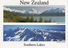 LARGE SOUTHERN LAKES NEW ZEALAND POSTCARD -  LAKE PUKAKI & MOUNT COOK NZ PC