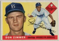 1955 Topps #92 Don Zimmer VG-VGEX+ RC Rookie Brooklyn Dodgers FREE SHIPPING