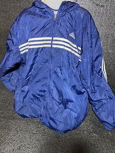 Vintage 90s Adidas Reversible Hooded Jacket Coat 3 Stripes Blue Size 4XL
