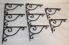 8 Cast Iron Antique Style Brackets Garden Brace Shelf Bracket Rustic Farm Scroll