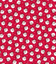Christmas Fabric Traditions - Tossed Santa Claus Face & Snowflake Red - YARD