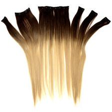 Extensions de cheveux à clips bruns raides pour femme
