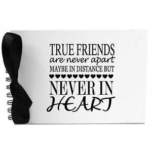 Ribbon, True Friends Never Apart, Photo Album, Scrapbook, Blank White Pages, A5