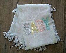 Vintage Baby Blanket Acrylic Thermal Waffle Weave Fringe Trim Unisex Newborn