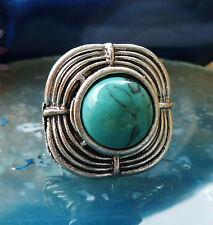 Ring im Vintage Stil mit Stein Türkis Tibet Silber quadratisch Inka Maya Motiv