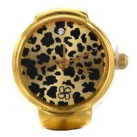 Rund Ringuhr Finger Uhr Fingeruhr Uhrenring Leopard Gold TOP