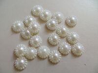 50 12 mm Ivory Flat Back Pearl  / Cabochon - wedding / craft