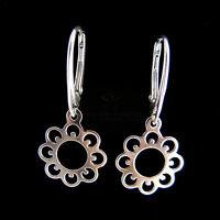 FASHIONS FOREVER® 925 Sterling Silver Sunflower Leverback Earring Handmade In UK
