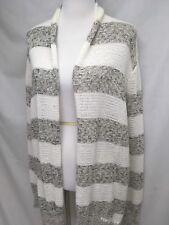 BB Dakota Cream/white/ Black Striped Knit Light Weight Cardigan Sweater Sz L Euc