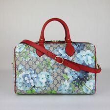 9ce914e80e68 Gucci Beige/Blue GG Coated Canvas Bloom Boston Top Handle Bag w/Box 409527