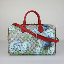 Gucci Beige/Blue GG Coated Canvas Bloom Boston Top Handle Bag w/Box 409527 8492