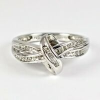 Kay Jewelers Sterling Silver Baguette/Round Diamonds Ribbon Ring Sz 7 JWBR