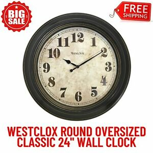 24-Inch Classic Vintage Style Round Oversized Wall Clock, Quartz Analog Movement