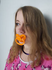 Adult Pacifier Soother Dummy from the dotty diaper company orange