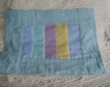 Handmade Doll Blanket Blue Flannel with Gingham Inserts