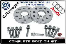 2 Pc 20mm Wheel Spacers 5x100 5x112 | + 10 Lug Bolts | Fits Audi & Volkswagen