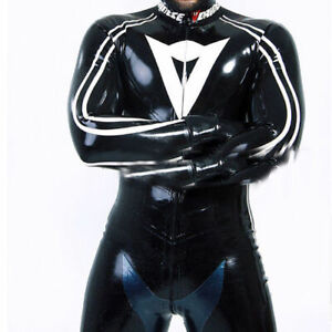 Latex Racing Suit Rubber Black and White Cosplay Bodysuit Zipper Catsuit S-XXL