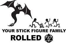 """Dungeons and Dragons Stick Figure family  Vinyl Decal Car 6.5""""x4.2"""""""