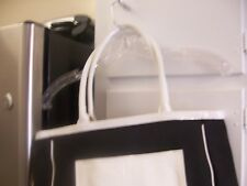 Liz Claiborne Tote Bag  - Black Canvas and White Patent With Matching Small Pouc