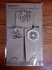 Gift Tags Kraft card stock with Charms Set of 3 Christmas