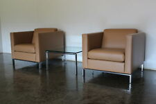 "Sublime Walter Knoll ""Foster 500"" 2 Armchair & Table Suite in Pale Brown Leather"