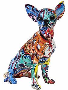 Graffiti art chihuahua dog pet animal resin ornament figurine art present gift