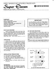 Kenwood Super_Eleven Receiver Owners Instruction Manual