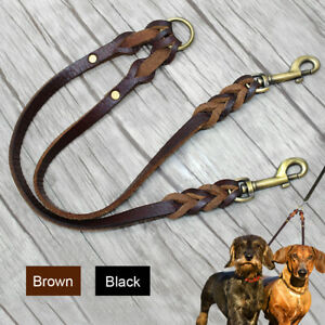 2 Way Leather Double Dog Twin Lead Pet Coupler/Splitter Leash for Two Dogs Walk