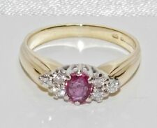 9ct Gold Ruby & Diamond Engagement Ring size M