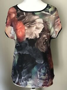 TED BAKER FLORAL BLOOM PRINT TEE T SHIRT TOP SIZE 2 ( 10-12 )