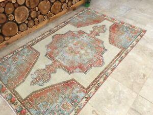 4'3''x7'4'' Antique Rug Carpet,Distressed Vintage Turkish Rug,Oushak Ushak Rug