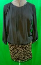 United Colors of Benetton Black Dress With Beaded Bottom Womens Large NWT
