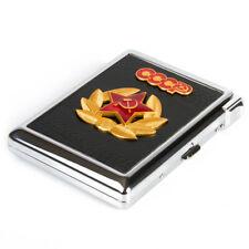 Soviet Pocket Metal 20 Cigarette Holder Storage Case USSR Red Star Pin