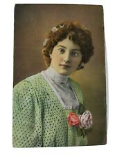 Vintage Real Photo Postcard Beautiful Dutch Lady with 2 Roses 1910 Netherlands