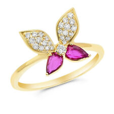 Butterfly Whimsical Right Hand Cocktail Ring 14K Yellow Gold Pave Red Ruby Pear