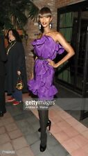 =CHRISTMAS PARTY= LANVIN $3800 Purple Side Ruffle Tube Silk Cocktail Dress US6