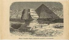 Stampa antica EGITTO EGYPT Sfinge e Piramide 1893 Old antique print