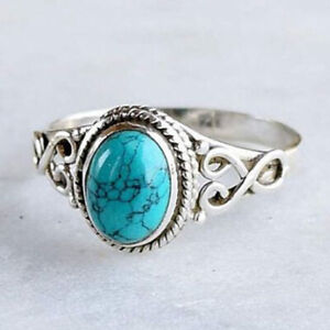 Antique Silver Plated Turquoise Gem Wedding Engagement Jewelry Ring Size 8