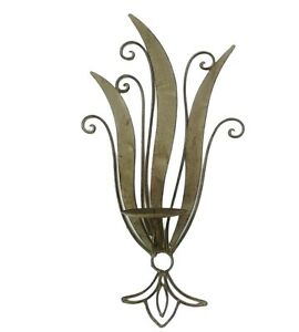 Metal Candle Wall Sconce Tan Beige Neutral Country Chic Ornate Fleur de lis