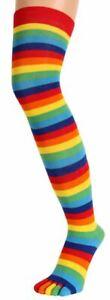 TOETOE Womens Striped Over The Knee Toe Socks - Multi-colour