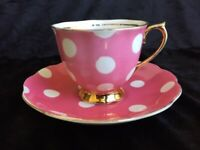 Royal Albert Pink w/White polka dots Tea Cup & Saucer Gold footed,England