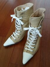 Authentic Manolo Blahnik Lace up Boots Shoe 37.5 Made in Italy