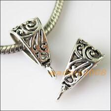 4 New Triangle Tibetan Silver Bail Bead Fit Bracelet Chrams Connectors 9.5x20mm