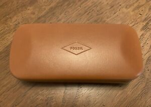 NEW Fossil Brown/Navy Eyeglasses Sunglasses Case Clam Shell W/ Cloth Authentic