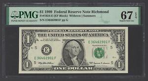 United State -Federal Reserve One Dollar 1999 Fr#1924-E (EF Block) Grade 67