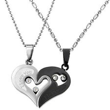 Heart Pendant Chain Men Women Stainless Steel Lover Couple Necklace I Love You